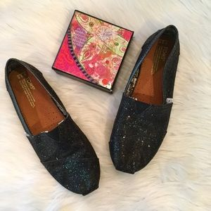 Toms Black Glitter Loafers, Youth 3.5